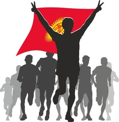 Athlete with the Kyrgyzstan flag at the finish