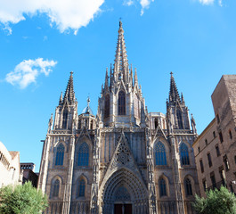 Gothic Catholic Cathedral Facade Steeples Barcelona