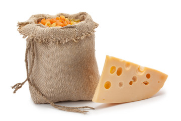 piece of cheese sack with pasta