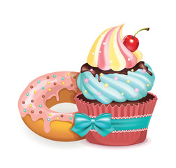 Vector cupcake and donut illustration