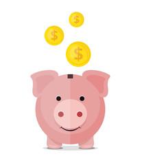 Vector piggy bank flat icon