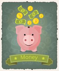 Vector piggy bank banner illustration