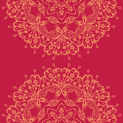 Abstract vector seamless ornamental round mandala on the red bac