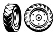 vector set of monochromatic tractor wheels different kinds - 78570999
