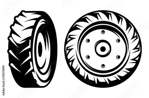 vector set of monochromatic tractor wheels different kinds