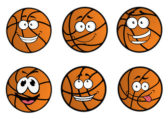 Cartooned basketball ball characters