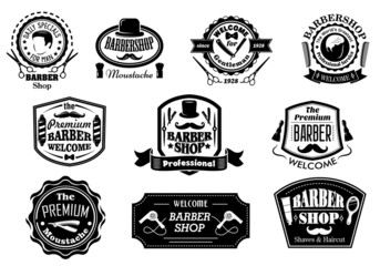 Black and white barber shop labels