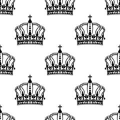 Heraldic seamless pattern with black royal crowns