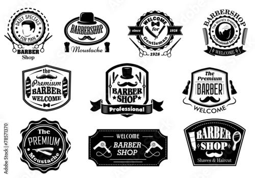 Fototapeta Black and white barber shop labels