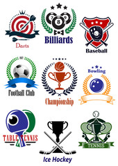 Colored sports tournaments emblems set