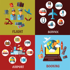 Aviation, airport and travel concept flat designs