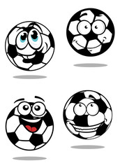 Cartoon soccer balls characters