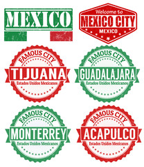 Set of Mexico cities stamps