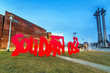 Solidarnosc sign under European Solidarity Centre in Gdansk - 78572391
