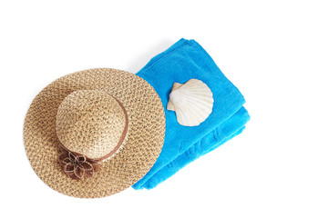 Beach items isolated on white
