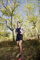 Man training in nature