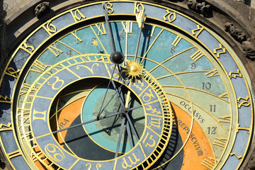 DetDetail of  historical medieval astronomical Clock in Prague