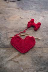 Knitted heart shape pattern