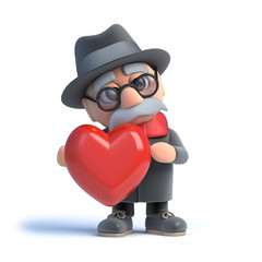 3d Old man hugging a heart