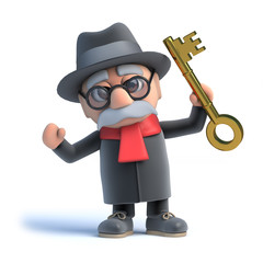 3d Old man holds up a gold key