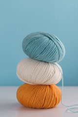 Close up of colorful skeins of yarn