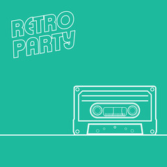 Retro party background in minimalistic style with line art
