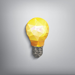 Colorful low polygonal light bulb concept symbol of creativity