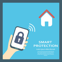 Smart home protection concept background with smartphone and