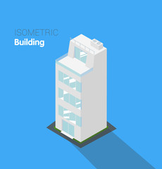Apartment building. Isometric vector.