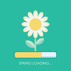 Spring is coming with loading bar concept. Blossoming flower