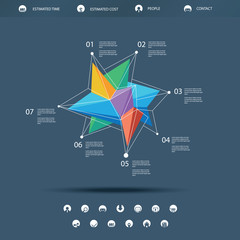 Low polygonal abstract shape infographics or single page website