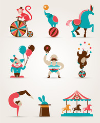 vintage huge circus collection with carnival, fun fair, vector