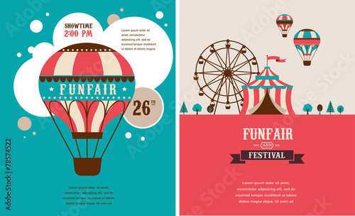 vintage poster with carnival, fun fair, circus vector background - 78574522