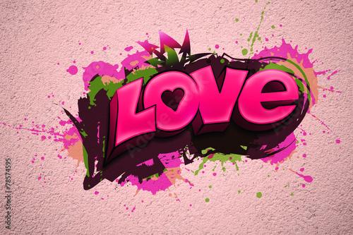 Murales rosa scritta LOVE