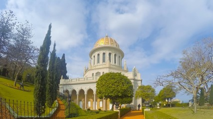 Time lapse of the Bahai temple and gardens in Haifa, Israel