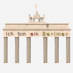 "Porta di Brandeburgo 3D con ""ich bin ein Berliner"""