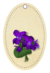 Bunch of violets on gift tag