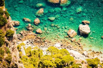 Capri, mediterranean sea. Turquoise water, Italy, Naples