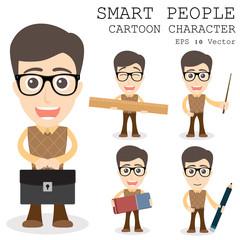 Smart people cartoon character eps 10 vector illustration