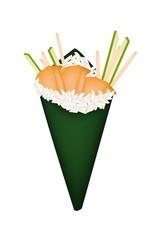 Sea Urchin Temaki or Sea Hedgehog Hand Roll Sushi