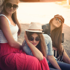 Girls having fun together outdoors, urban lifestyle, image filte