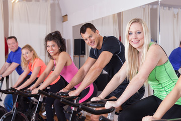 pinning - cycling group of fitness people