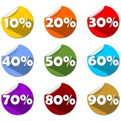 A set of percent label on rolled paper circle in different color