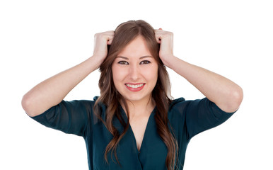 Surprised and worried young woman