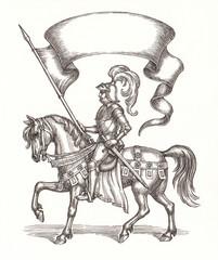 Рыцарь со знаменем, графика.
