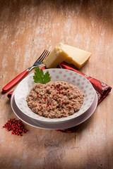 risotto with red wine red pepper and parmesan cheese
