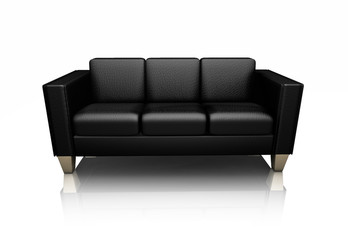 Black leather settee