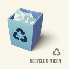 blue color recycle bin icon