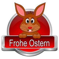 Osterhase wünscht Frohe Ostern Button