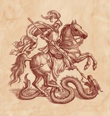 Рыцарь убивающий дракона, графика на старой бумаге.